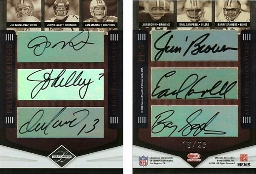 2006 Leaf Limited Prime Pairings Autograph Jim Taylor Joe Montana John Elway Dan Marino Jim Brown Earl Campbell Barry Sanders