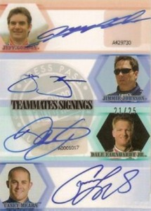 2008 Press Pass Eclipse Teammates Signatures Gordon Johnson Earnhart Mears