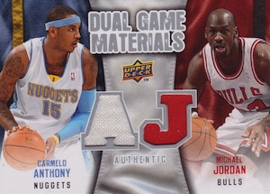 2009-10 Upper Deck Dual Game Materials Michael Jordan, Carmelo Anthony #DG-NK