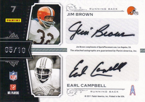 2011 National Treasures Quad Signatures Emmitt Smith Jim Brown Barry Sanders Earl Campbell Back