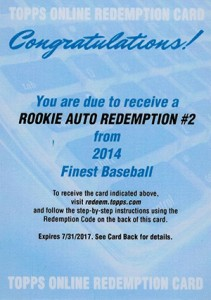 2014 Topps Finest Mystery Redemption 2