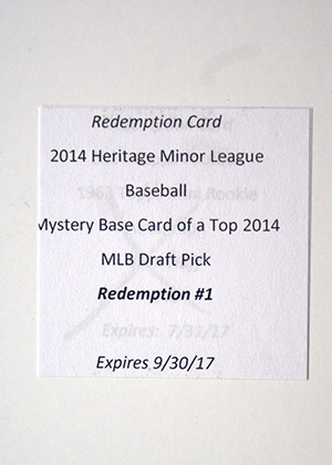 2014 Topps Heritage Minor League Mystery Redemption