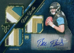 2014 Triple Threads Blake Bortles RC Autographed Jersey Patch Parallel