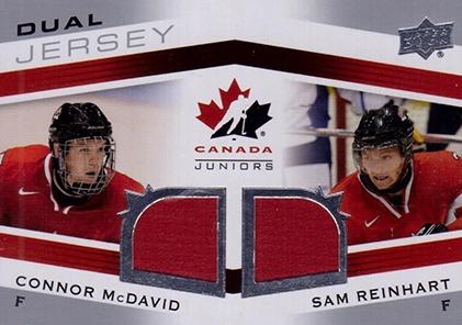 2014 Upper Deck Team Canada Juniors Dual Jersey Connor McDavid Sam Reinhart B