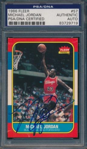 1986-87 Fleer Michael Jordan RC #57 Autograph PSA:DNA