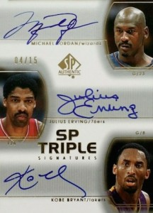2002-03 SP Authentic SP Triple Signatures Michael Jordan, Kobe Bryant, Julius Erving