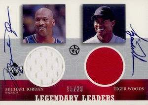 2002-03 UD SuperStars Legendary Leaders Dual Jersey Autograph #MJTW Michael Jordan, Tiger Woods
