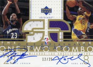 2002-03 Upper Deck Glass One Two Combo Jerseys Autographs Michael Jordan Kobe Bryant