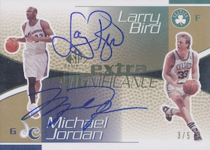 2003-04 SP Game Used Extra SIGnificance Autographs Gold Michael Jordan, Larry Bird #MJLB