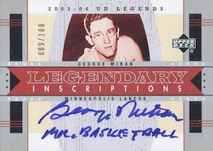 2003-04 Upper Deck Legends Legendary Inscriptions George Mikan #LS-GM