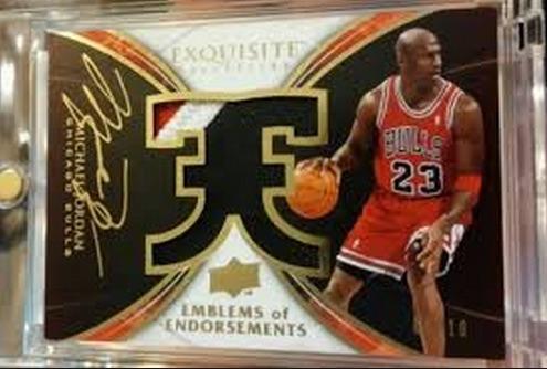 2008-09 Exquisite Collection Emblems of Endorsement Michael Jordan #EE-MJ Autograph Jersey #:10