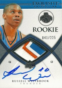 2008-09 Exquisite Collection Russell Westbrook RC #93 Autographed Jersey