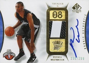 2008-09 SP Authentic Russell Westbrook RC #139 Autographed Jersey