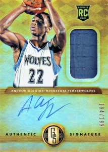 2014-15 Panini Gold Standard Andrew Wiggins RC #201 Autographed Jersey
