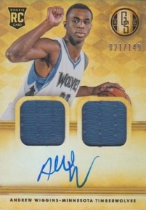 2014-15 Panini Gold Standard Andrew Wiggins RC #201 Autographed Jersey Dual