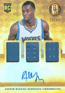 2014-15 Panini Gold Standard Andrew Wiggins RC #201 Autographed Jersey Triple