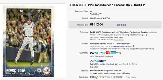 2015 Topps Derek Jeter eBay