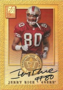 2000 Donruss Elite Passing the Torch Autographs Randy Moss Jerry Rice front
