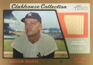 2015 Topps Heritage Baseball Clubhouse Collection Relics Gold Roger Maris