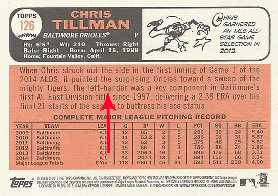 2015 Topps Heritage Error Chris Tillman Arrow