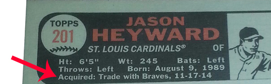2015 Topps Heritage Traded Player Variation Jason Heyward Back ArrowB