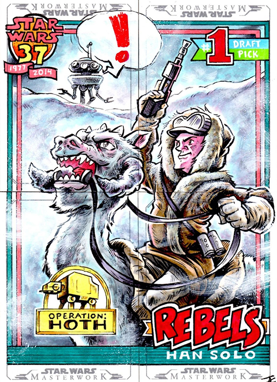 2015 Topps Star Wars Masterwork Sketch Card - Crosby Han Solo 1991 BB