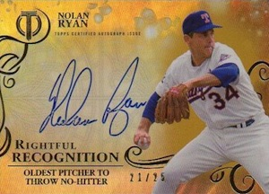 2015 Topps Tribute Baseball Rightful Recogniton Autographs Gold Nolan Ryan
