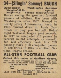 Sammy Baugh Rookie Cards Guide and Checklist  4