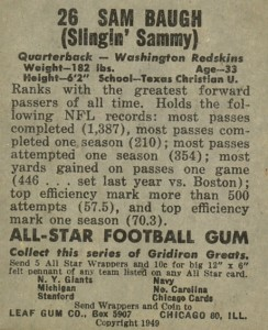 Sammy Baugh Rookie Cards Guide and Checklist  6