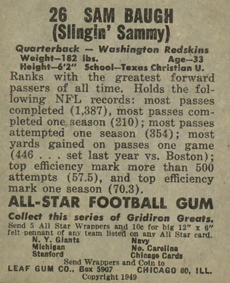 1949 Leaf Football Cards 2