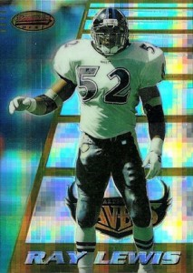 1996 Bowman's Best Football Atomic Refractor Ray Lewis RC