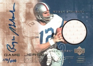 2000 Upper Deck Game Jersey Greats Autographs Roger Staubach #GJG-RS