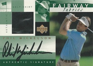 2002 Upper Deck Fairway Fabrics Green Phil Mickelson Autograph Shirt