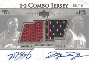 2003-04 Upper Deck Glass One-Two Combo Autographed Jerseys Michael Jordan, LeBron James