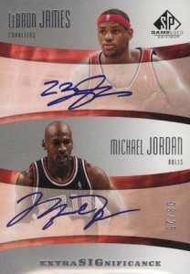 2004-05 SP Game Used Extra Significance Autographs Michael Jordan, LeBron James