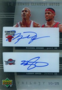 2004-05 Upper Deck Trilogy One-Two Combo Clear Cut Autographs Michael Jordan, LeBron James