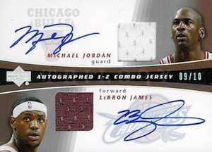 2004-05 Upper Deck Trilogy One-Two Combo Clear Cut Jersey Autographs Michael Jordan, LeBron James