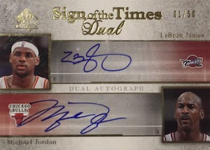 2005-06 SP Authentic Sign of the Times Dual Autograph Michael Jordan, LeBron James