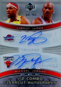 2005-06 Upper Deck Trilogy One-Two Combo Clearcut Autographs Michael Jordan, LeBron James