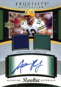 2005 Exquisite Collection Aaron Rodgers RC #106 Autographed Dual Jersey