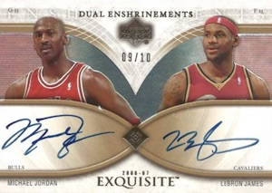 2006-07 Exquisite Collection Dual Enshrinements Autographs Michael Jordan, LeBron James