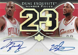 2006-07 Exquisite Collection Dual Number Pieces Autographs Michael Jordan, LeBron James