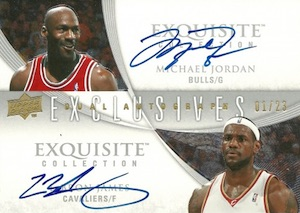 2007-08 Exquisite Collection Exclusives Autographs Dual Michael Jordan, LeBron James