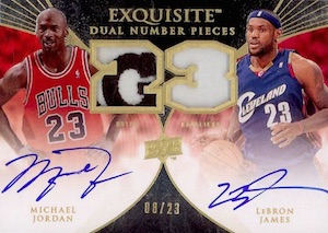 2007-08 Exquisite Collection Numbers Dual Autographs Michael Jordan, LeBron James