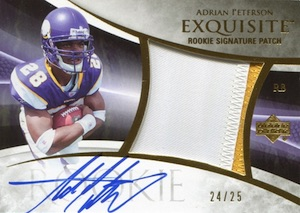 2007 Exquisite Collection Adrian Peterson RC #133 Autographed Patch Gold