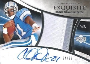 2007 Exquisite Collection Calvin Johnson RC #130 Autographed Patch