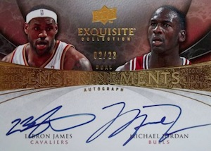2008-09 Exquisite Collection Enshrinements Dual Autographs Michael Jordan, LeBron James