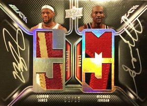 2008-09 Upper Deck Black Dual Patches Autographs Michael Jordan, LeBron James