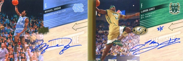 2011 Upper Deck All Time Greats One on One Dual Book Card Autographs Michael Jordan, LeBron James