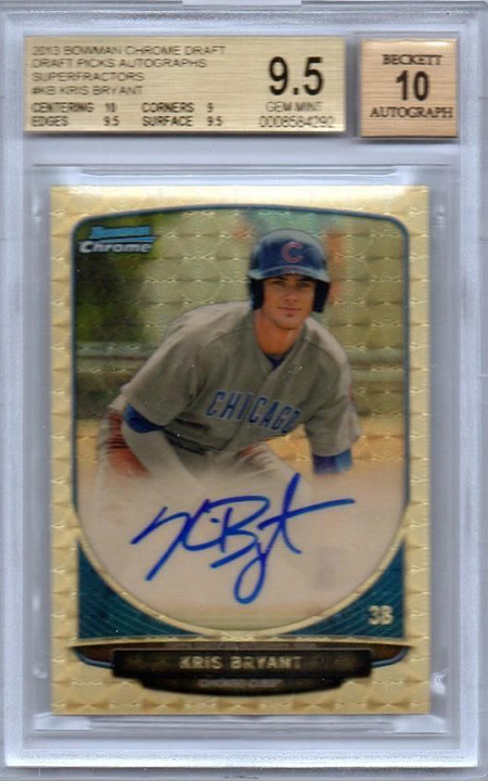 2013 Bowman Chrome Draft Superfractor Autograph Kris Bryant